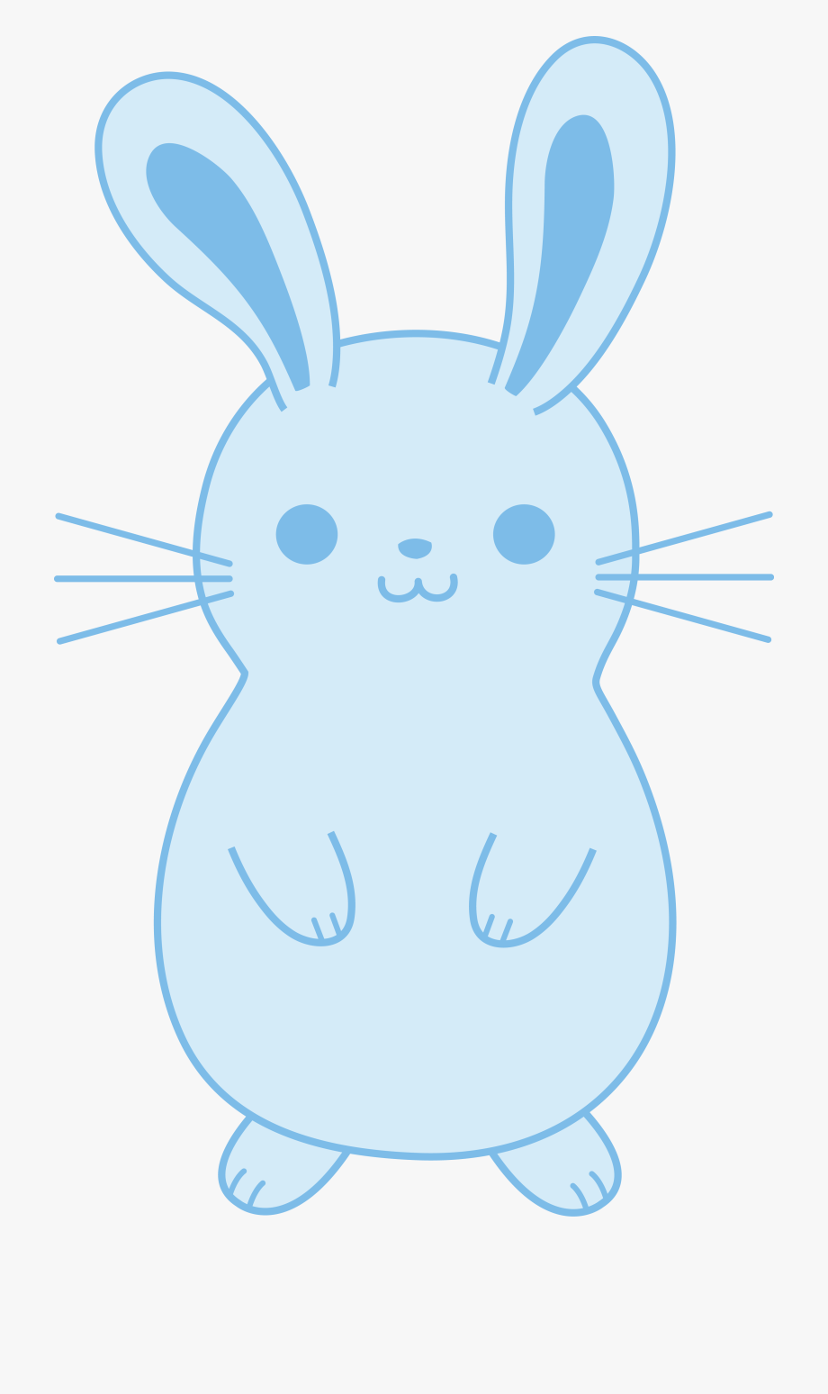 Cute Blue Easter Bunny Free Clip Art.