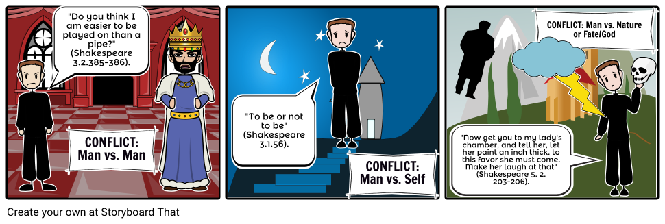 Hamlet Act 1: Three Types of Conflict Storyboard.