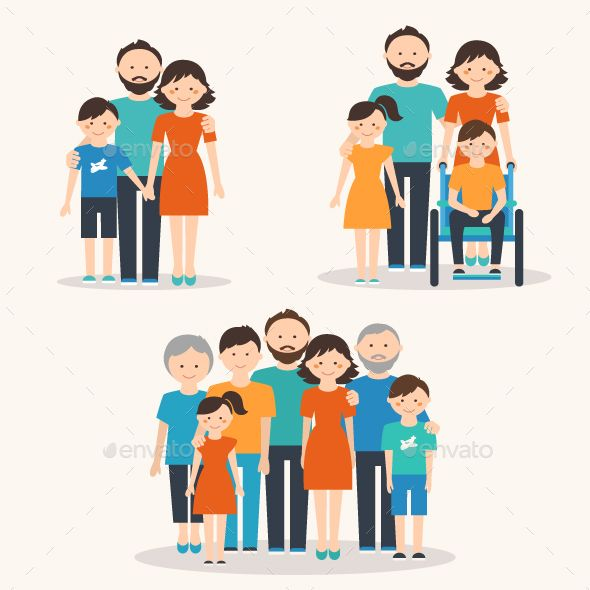 Families of Different Types. Flat Illustration.