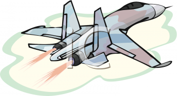 Royalty Free Clip Art Image: Camouflage Military Plane Flying Away.