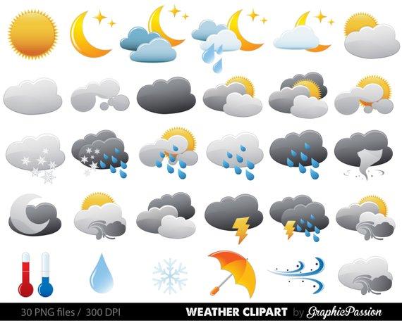Weather Clipart Clip Art Vectors, Weather digital images.