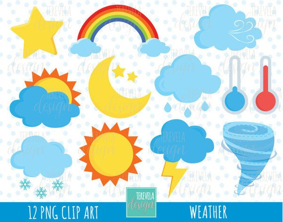 50% SALE WEATHER clipart, weather icons, commercial use.