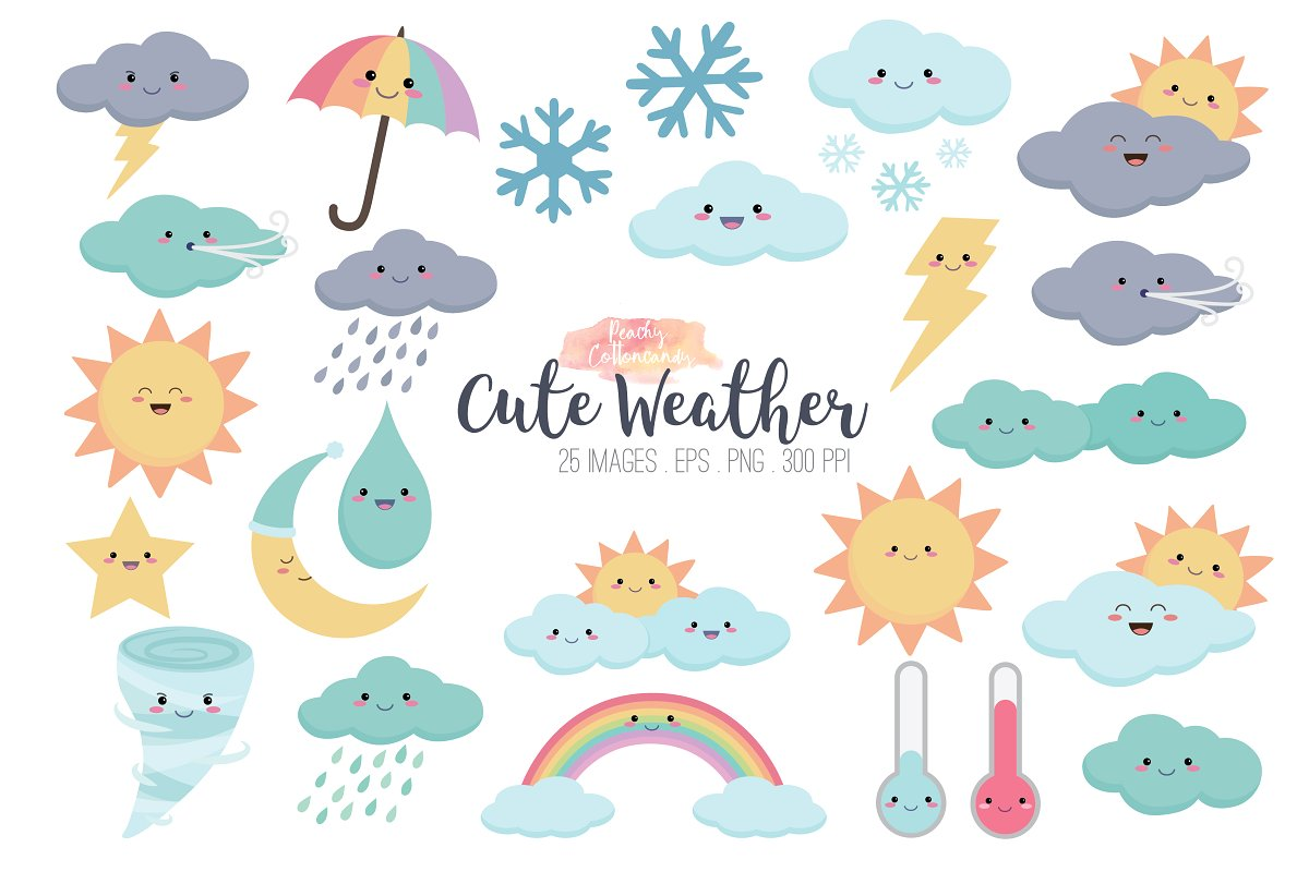 Kawaii Weather Clipart ~ Illustrations ~ Creative Market.