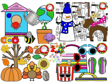 Year Long Seasonal Clipart BUNDLE {200+ clips} (Personal & Commercial Use).