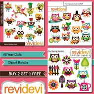 Cute owl clip art for all year long (3 packs) holidays, four seasons.