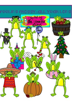 Feeling Froggy All Year Long Clip Art Set for Commercial or Personal Use.