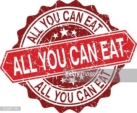 All you can eat red vintage stamp Clipart Image.
