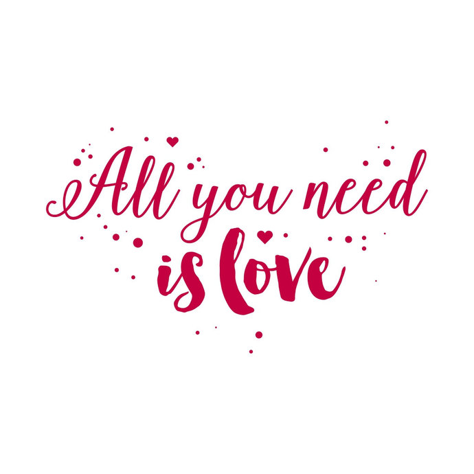 All you need is Love Phrase Valentines Heart graphics design SVG DXF EPS  Png Cdr Ai Pdf Vector Art Clipart instant download Digital Cut File.
