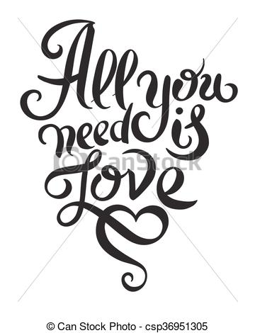All you need is love vintage phrase Clip Art Vector Graphics. 141.