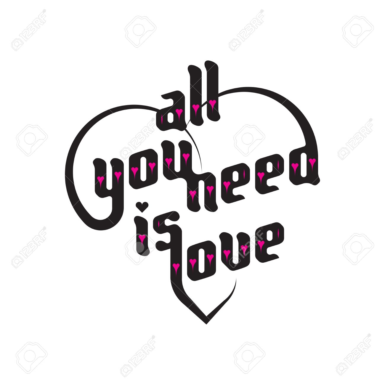 Heart typography. All you need is love. Love typography. Custom...