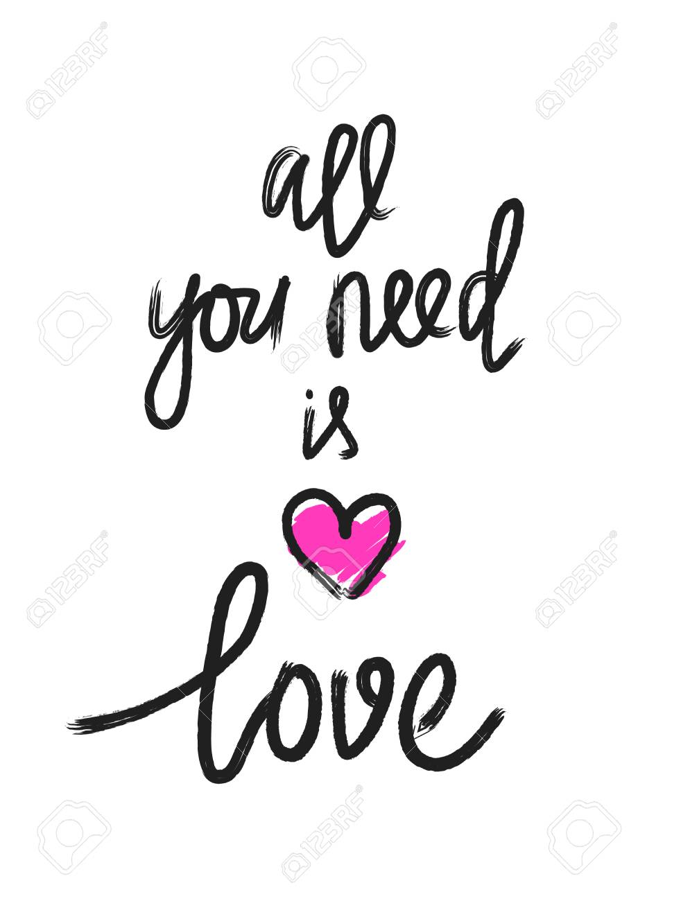 All you need is love vector calligraphy grunge design.