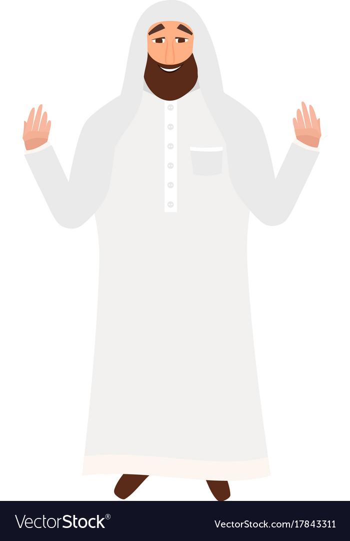 Islamic man with beard praying in cartoon style.