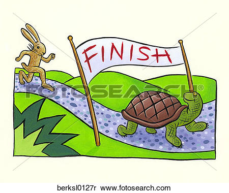 Stock Image of bunny, aesop's fables, banner, amphibian, allegory.