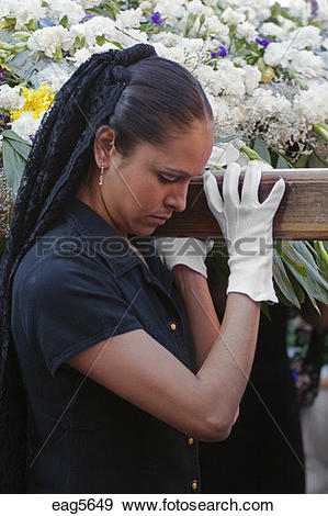 Stock Photograph of MEXICAN WOMAN in MANTILLA & white gloves.