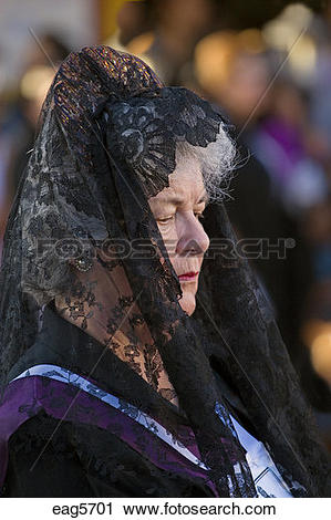 Stock Photography of MEXICAN woman in black mantilla during EASTER.