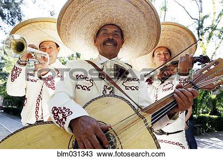 Stock Photo of Musicians playing in mariachi band, San Miguel de.