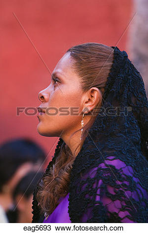 Stock Photo of MEXICAN woman in black mantilla during EASTER.