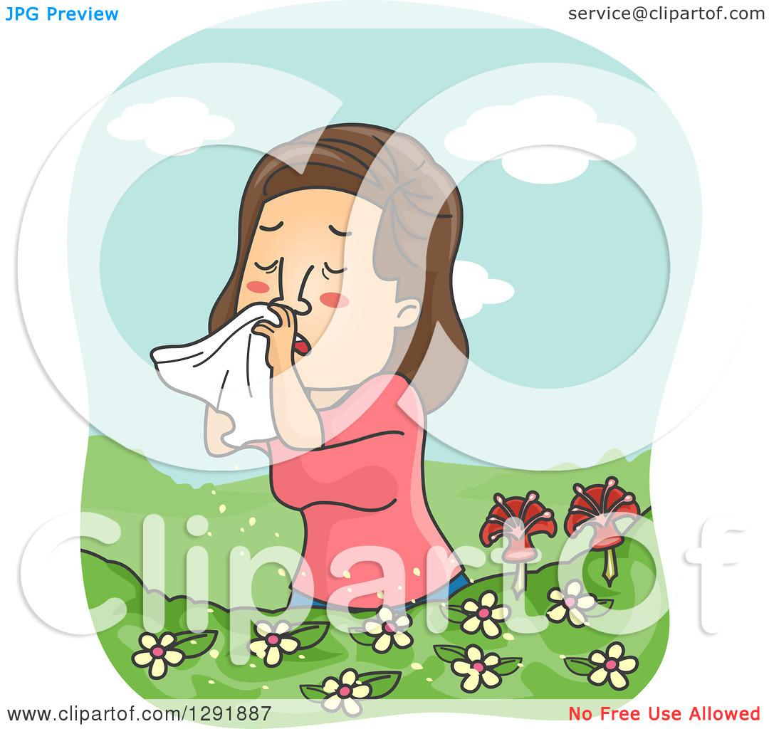 Clipart of a Cartoon Brunette Caucasian Woman Suffering from.