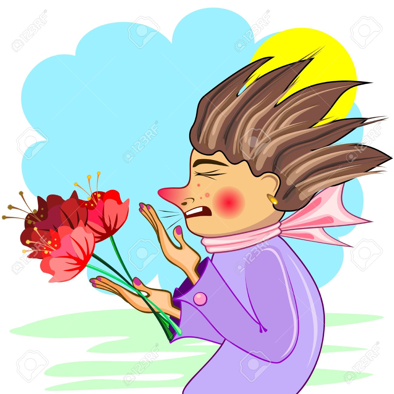 Young Woman With Red Flowers Sneezing Of Cold Or Allergy Royalty.