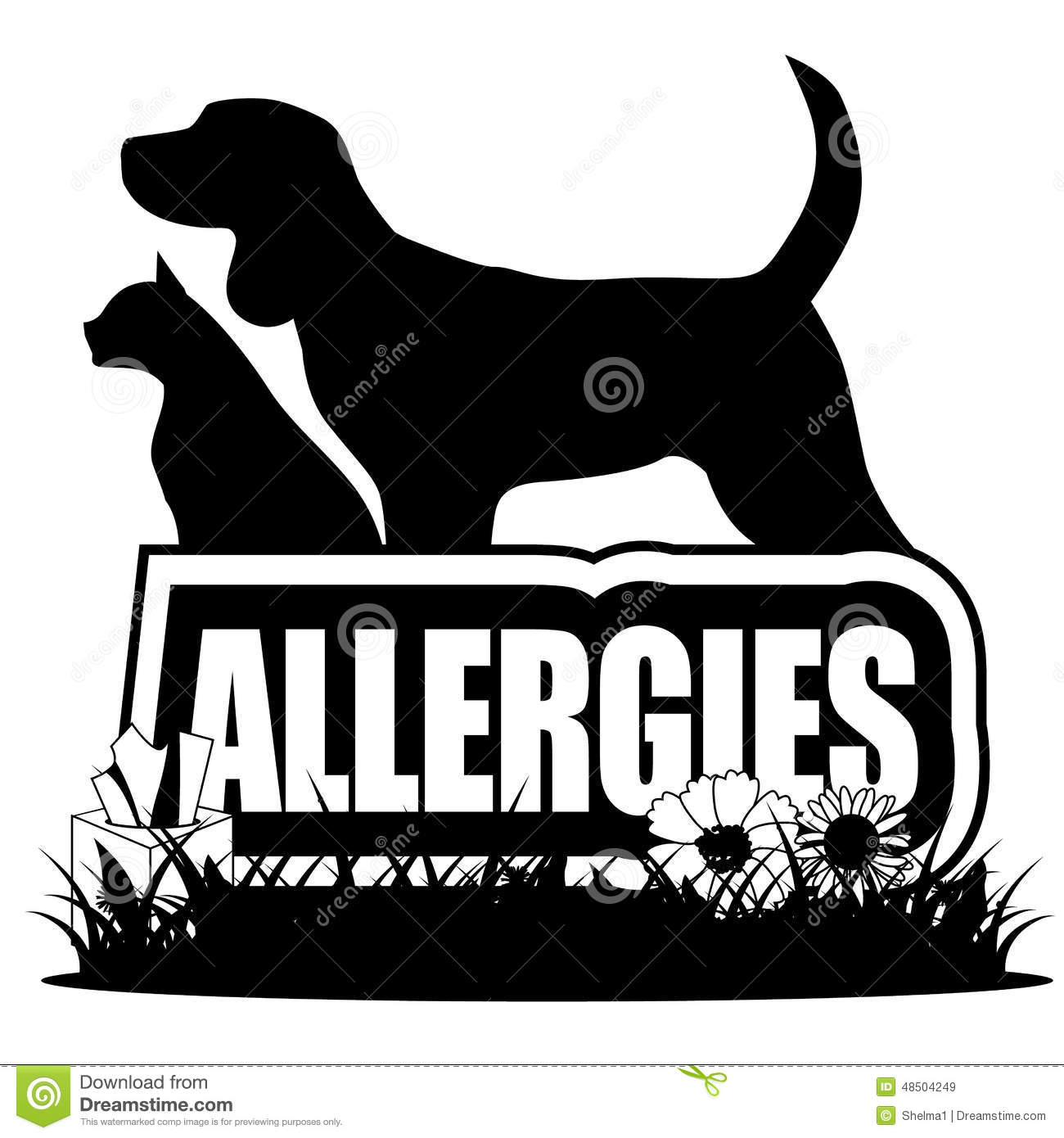 Allergies Icon With Dog Cat Plants Peanuts Stock Vector.
