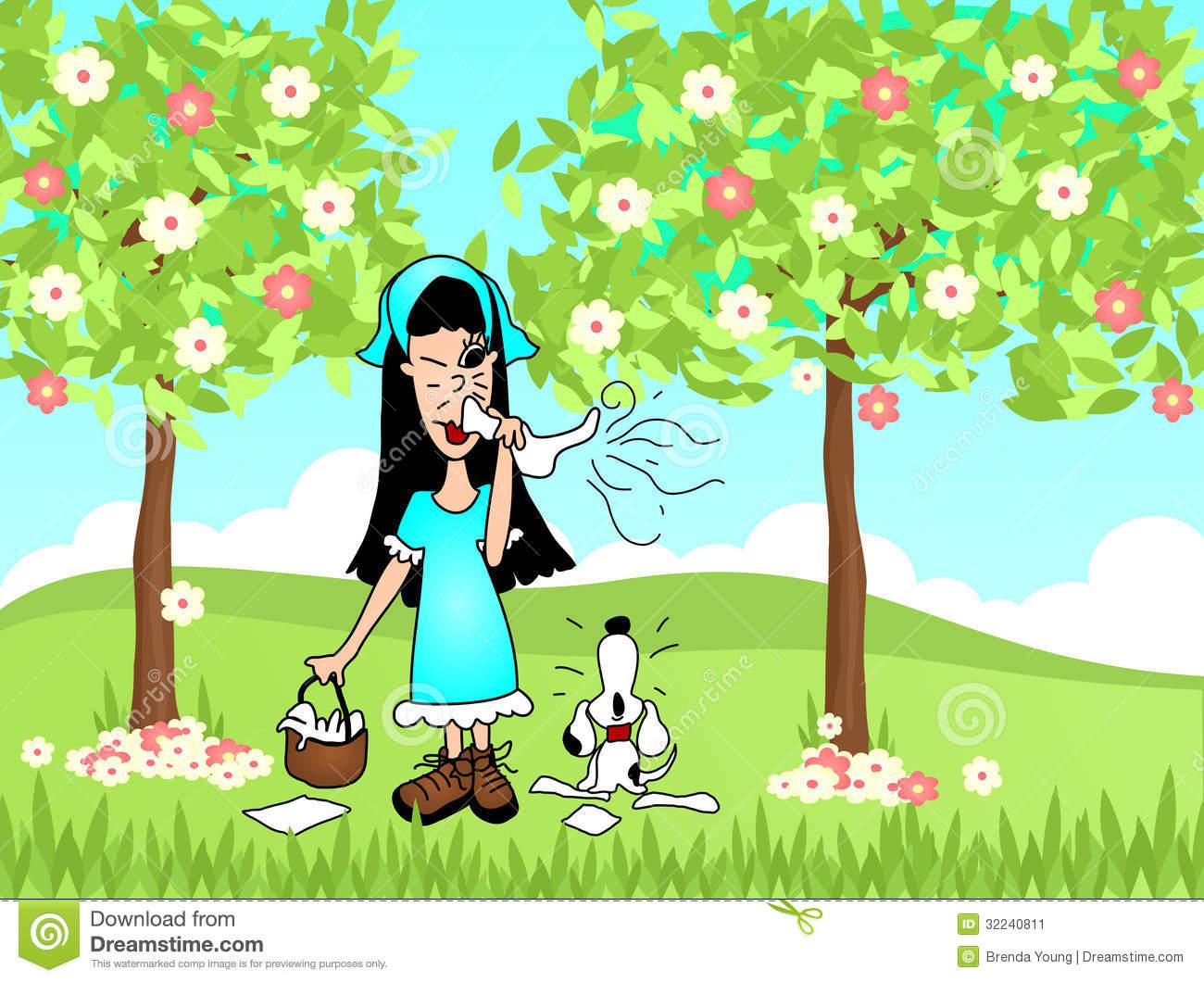 Spring Sneeze Allergies Stock Image.