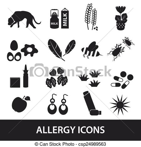 Clip Art Vector of allergy and allergens black icons set eps10.