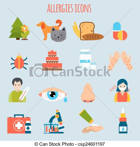EPS Vectors of Allergies Icon Set.