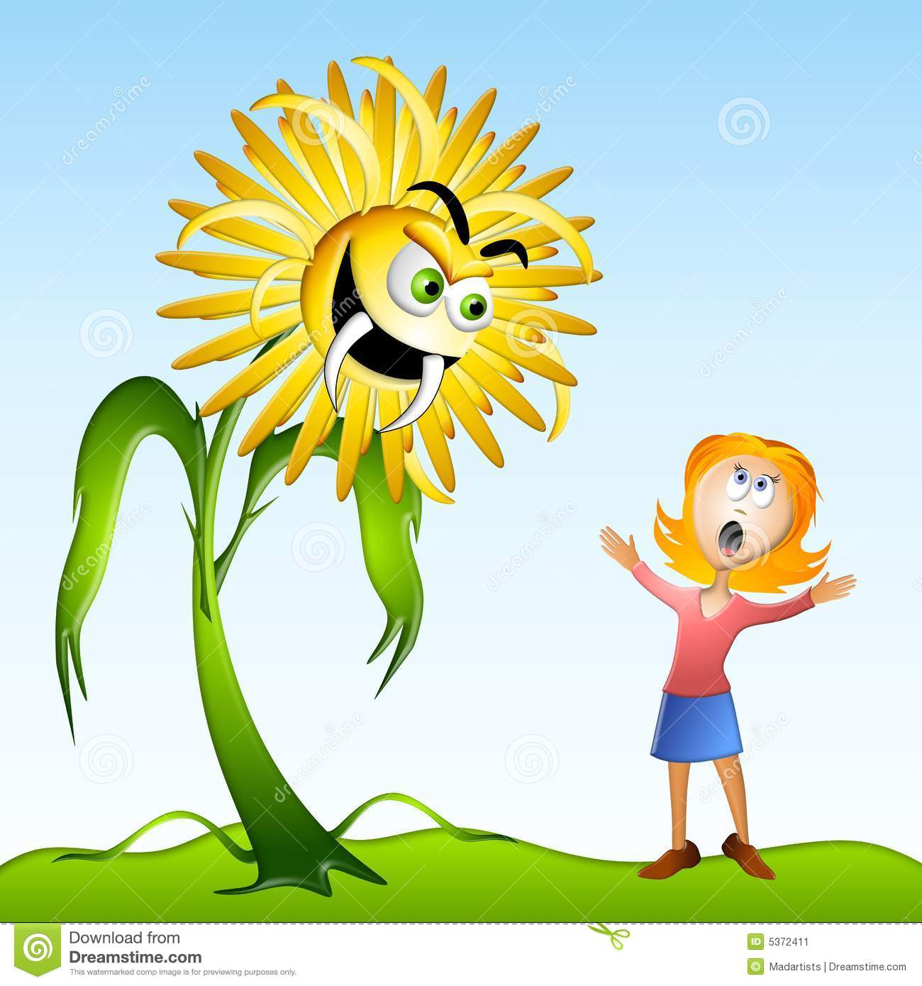 Dandelion Weed Allergy Monster Stock Image.