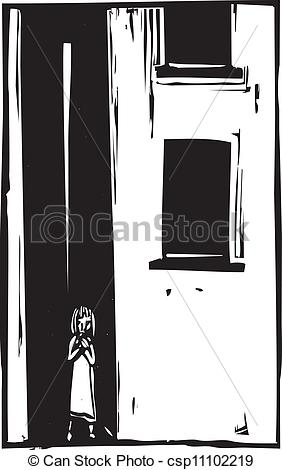 Vector Clip Art of Child Alone in Alley.
