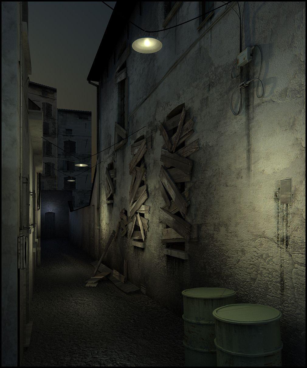 Dark alley.