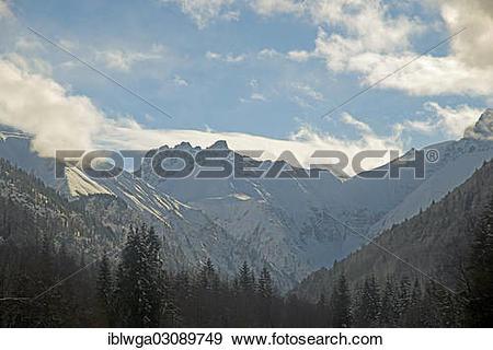 """Stock Photograph of """"Trettachtal valley, behind Mt Kratzer."""