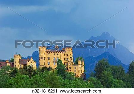 Stock Photography of Hohenschwangau Castle, Allgau, Fussen.