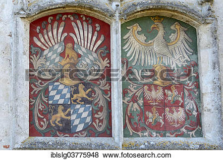 """Pictures of """"Alliance coat of arms on the castle wall, Burghausen."""