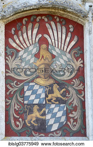 """Stock Photograph of """"Alliance coat of arms on the castle wall."""