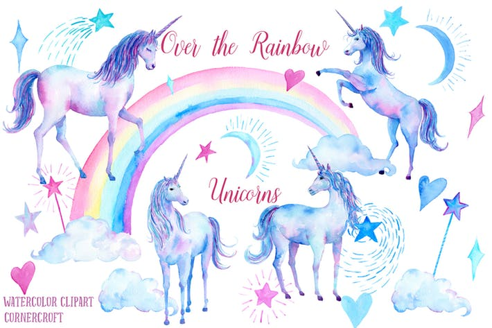 Watercolor Over the rainbow Unicorn Clipart by cornercroft on Envato  Elements.