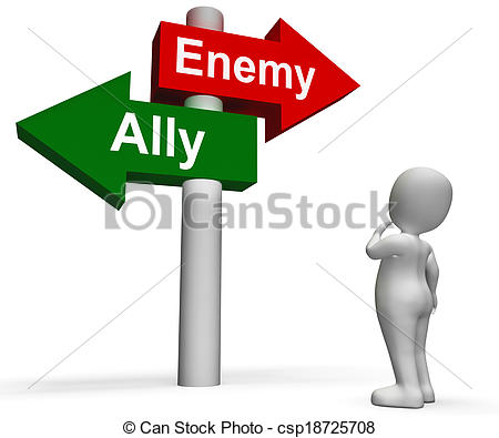 Stock Photography of Allied Enemy Signpost Shows Friend Or Foe.