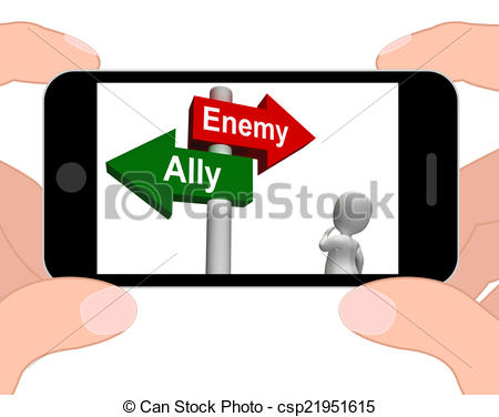 Clipart of Allied Enemy Signpost Displays Friend Or Foe.