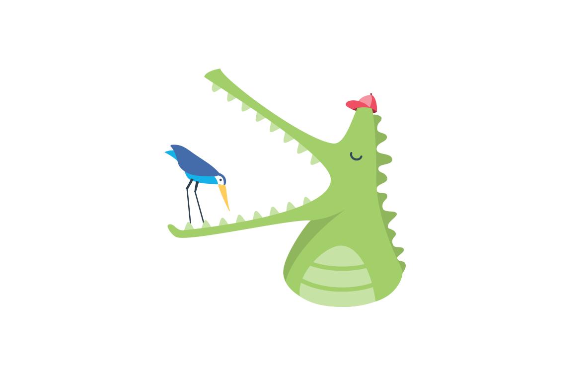 Flat vector illustration of crocodile and plover bird.