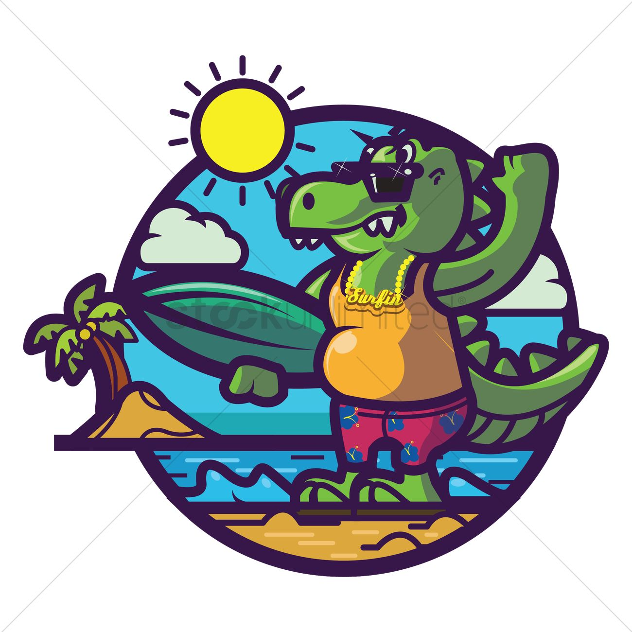 Crocodile chilling at beach Vector Image.