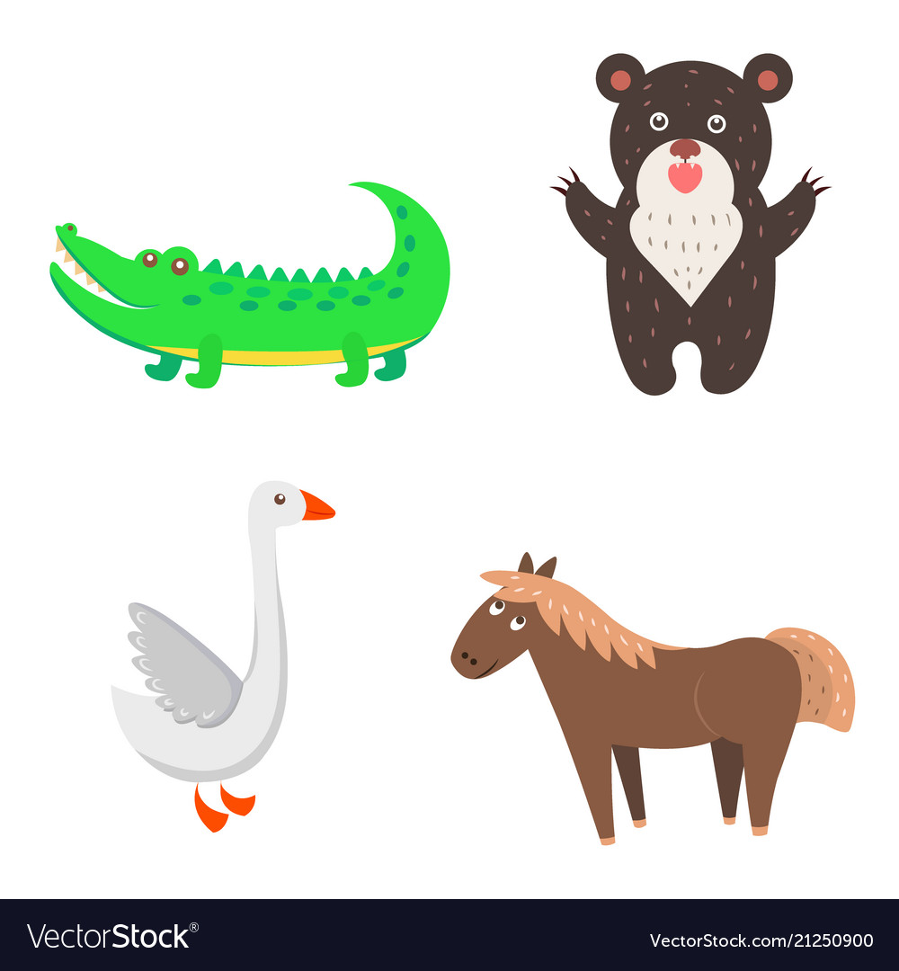 Concept of goose horse bear crocodile for kids.