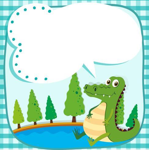 Border design with crocodile and pond.