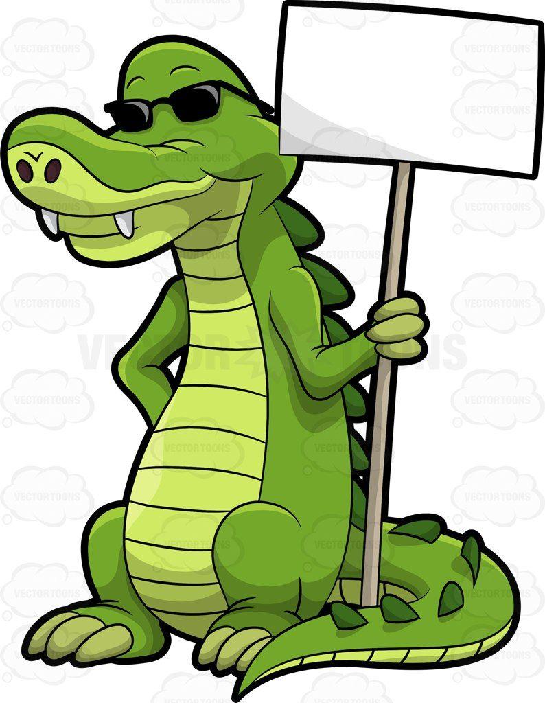 Arthur the alligator holding a signboard #cartoon #clipart.