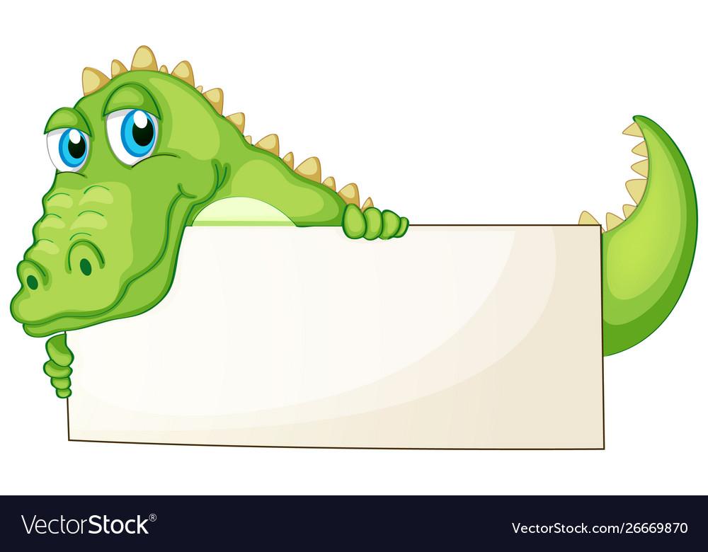 Border template design with cute crocodile.