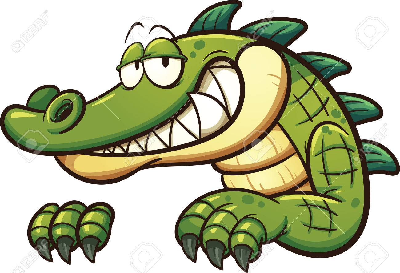 Cartoon crocodile. Vector clip art illustration with simple gradients.