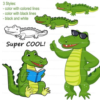 Alligator Clip Art ( Crocodile ) with signs: Letter A in Alphabet Animal  Series.