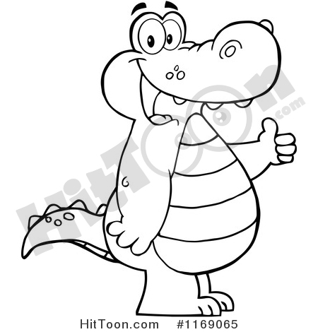 Alligator Clipart #1169065: Happy Black and White Alligator Holding.