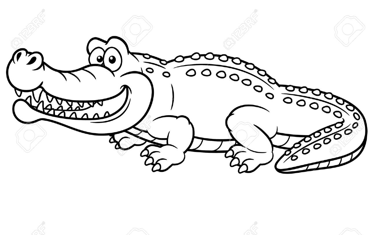 Alligator clipart black and white Inspirational Cute Alligator.
