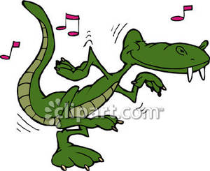 Dancing Cartoon Alligator.