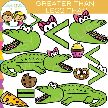 Alligator Greater Than and LessThan Math Clip Art.