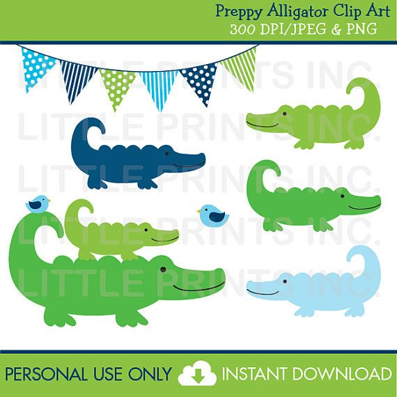 Preppy Alligator Clipart PERSONAL USE Instant Download A310.